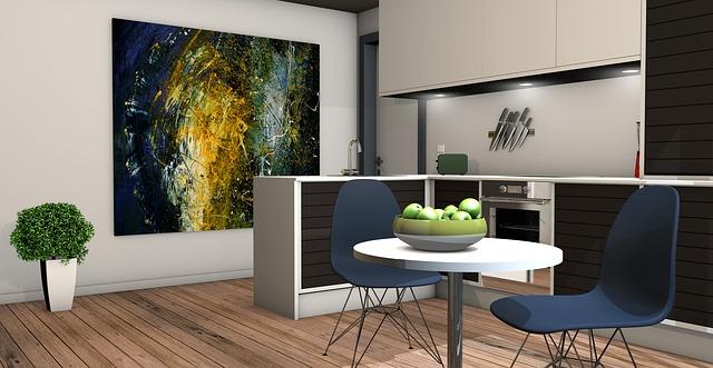 obraz, návrh kuchyně, židličky, jablíčka